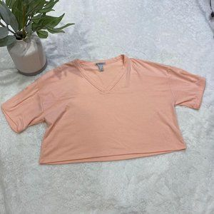 Forever 21 Peach Color Cropped Crew Tee Size Large